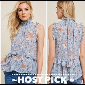 💕HOST PICK X2!!💕 Floral Smock Neck Ruffle Top